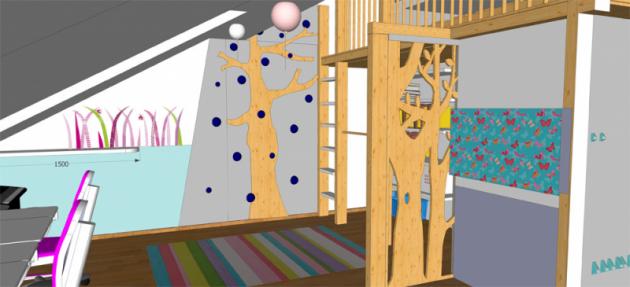 Nahorní lůžko je možné vylézt požebříku nebo lezecké stěně sopakujícím se motivem stromu
