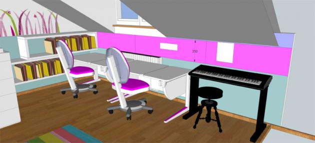 Stávající rostoucí stůl vpracovní části pokoje je doplněn ještě jedním stejného typu. Nesmí chybět police naknihy ani velká magnetická nástěnka nazajímavosti anoty