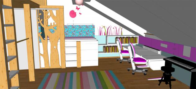 Zvýšená postel súložným prostorem je vyrobena namíru zbílého lamina. Boční ačelní stěna lůžka je vybavena textilním obložením, které slouží kzútulnění ijako tepelná izolace. Tvarované stromy zpřekližky fungují jako zarážka adekorace