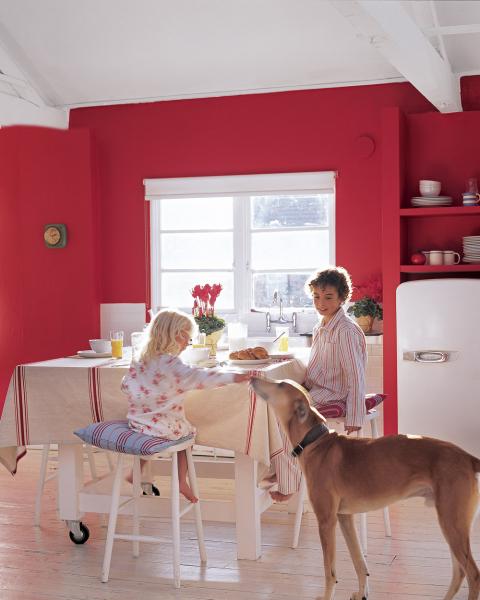 Červená barva je intenzivní, proto  ji používejte uvážlivě. Vjídelnách  akuchyních podpoří chuť kjídlu