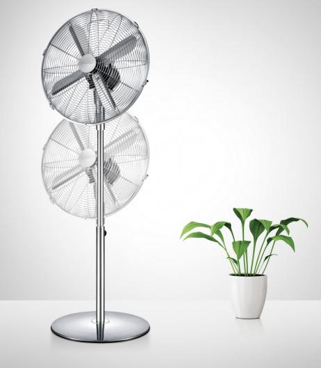 Stojanový ventilátor FANCY HOME. Špičkový stojanový ventilátor se 3 rychlostmi proudění vzduchu, oscilací v rozsahu 90 stupňů, nastavitelným sklonem a tichým chodem. Nastavitelná výška 90 až 125 cm. Vyrobeno z prvotřídní oceli s luxusní povrchovou úpravou a odolného plastu.