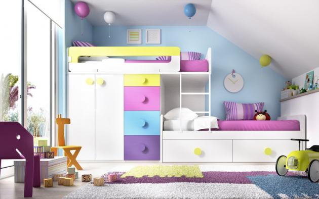 Patrová postel se skříní aspodním lůžkem súložnými prostory, celková délka 300cm, velikost postelí 200 x 100cm, Rimobel, cena 49977Kč,  www.space4kids.cz