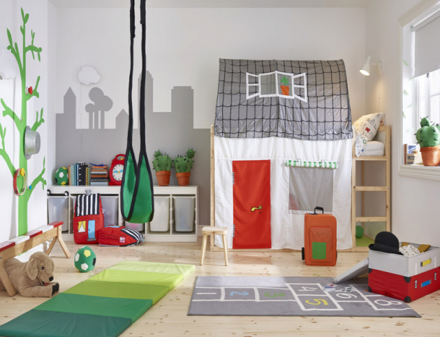 Houpačka Gunggung rozvíjí smysl pro rovnováhu, 100% polyester, nosnost 70kg, Ikea, cena 499Kč, www.ikea.cz