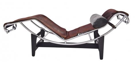 Chaise longue LC4,  design Le Corbusier, ohýbané chromové trubky/kůže,