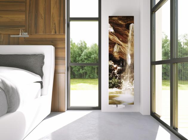 Designové radiátory Radik Premium s čelní deskou s vlastním potiskem. Ceny podle rozměrů, radiátor od 9 760 Kč, vyměnitelná deska od 6 770 Kč, www.korado.cz.