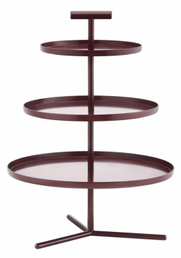 Etažér Glaze v odstínu Dark Red, značka Normann Copenhagen, lakovaný hliník, 24,5 x 26,5 cm, cena 3 730 Kč, www.designville.cz