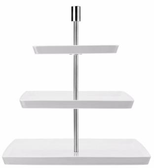 Hranatý etažér Loft značky Thomas, design Queensberry Hunt, porcelán/nerezová ocel, 19/25/32 x 37 cm, cena 3 050 Kč, www.kulina.cz