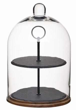Etažér Artesa značky Kitchen Craft, základna z akáciového dřeva, skleněný poklop, břidlice/kov, 22 x 31 cm, cena 1 625 Kč, www.naoko.cz