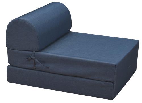 Rozkládací křeslo Marino s látkovým potahem v dekoru jeans blue, rozměr po rozložení 180 × 60 cm, cena 1 200 Kč, www.jena-nabytek.cz