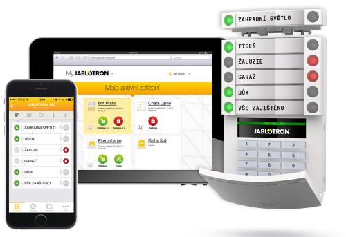 Elektronický zabezpečovací systém Jablotron 100 je jednoduchý na obsluhu. Nejenže kompletně ochrání vaši domácnost, ale umí také rozsvítit světla, otevírat garážová vrata nebo spustit zavlažování, a to i na dálku přes mobilní telefon, www.jablotron.cz