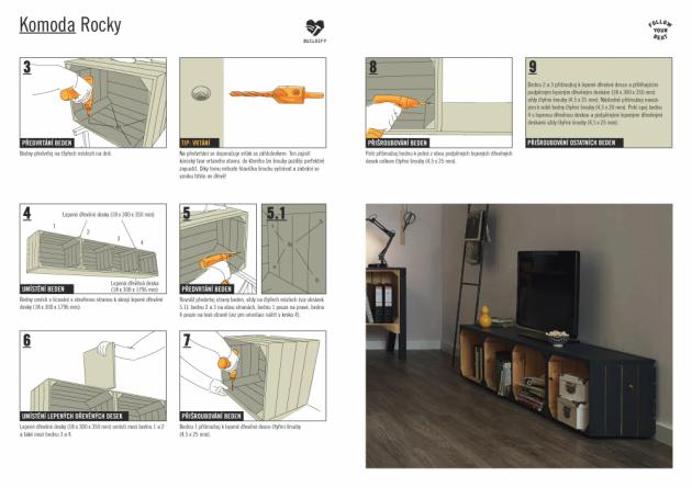 Richard Klička, odborník na stavby a materiály vprojektových marketech Hornbach, radí: Sestavte si komodu pod televizi Rocky v9 krocích