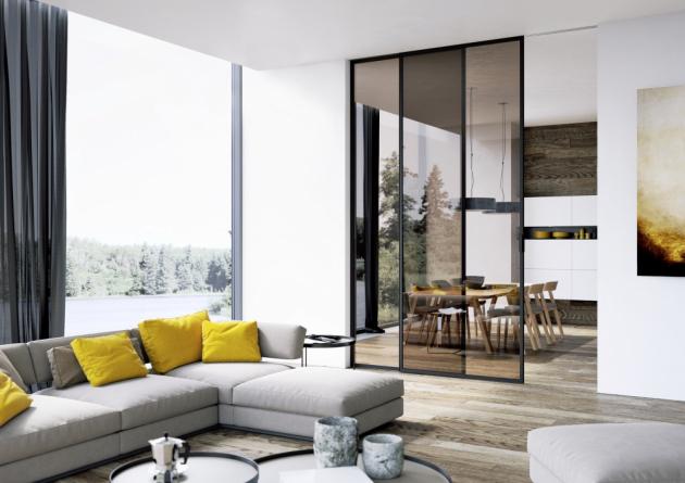 Skleněné posuvné dveře Strong (J. A. P), tónované sklo, posuv Premium, cena 11 773 Kč, www.japcz.cz