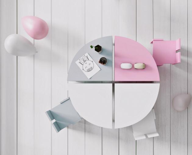 Čtvrtkruhový stolek a židlička Pukka (JPP), lamino, cena od 2 040 Kč/ks, www.space4kids.cz