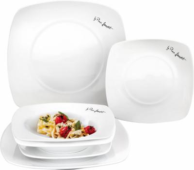Elegantní jídelní souprava talířů DINE LT 9002 od značky Lamart byla inspirována zkušenostmi a hravým přístupem kvaření jedinečného kuchyňského profesionála Piera Lamarta. Souprava talířů DINE, která se skládá změlkých, hlubokých a dezertních talířů, si vás určitě získá svým elegantním a jednoduchým designem.