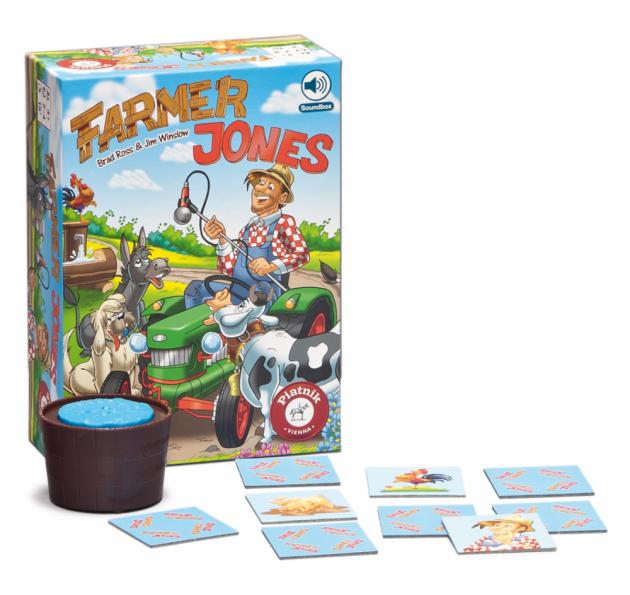 Zábavná pátrací hra trénující pozornost pro 2-4 hráče od 4 let. S mluvítkem. Farmář Jones je zapomnětlivý a často si nevšimne, kde nechal svá zvířata a předměty. Pomozte mu je znovu najít. Pečlivě si vyslechněte, co farmář hledá, a zapamatujte si polohu různých obrázků.