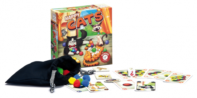 Napínavá karetní hra s chlupatými míčky pro 2-4 hráče od 7 let Pestrobarevná klubíčka kočky zbožňují. Každá se jich snaží ulovit co nejvíc. Pouze ten hráč, který dokáže šikovným způsobem vynášet karty, bude mít na konci hry nejvíc hebkých klubíček.