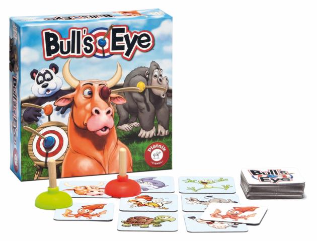 Rychlá postřehová hra pro 2-5 hráčů od 5 let V této hře je důležité být o jedno chňapnutí napřed. Body totiž získává pouze ten hráč, který přísavkou nejrychleji chytí správné destičky a ostatním je vyfoukne před nosem. Obzvlášť ceněná je destička s býčím okem Bull´s Eye