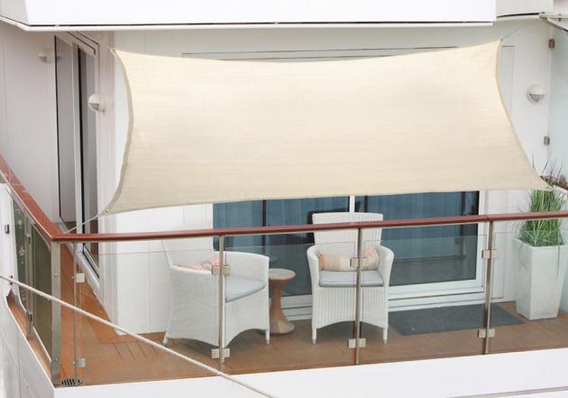 Balkónová sluneční plachta Poly, PES slonová kost, sňůra 2,7x1,4 m