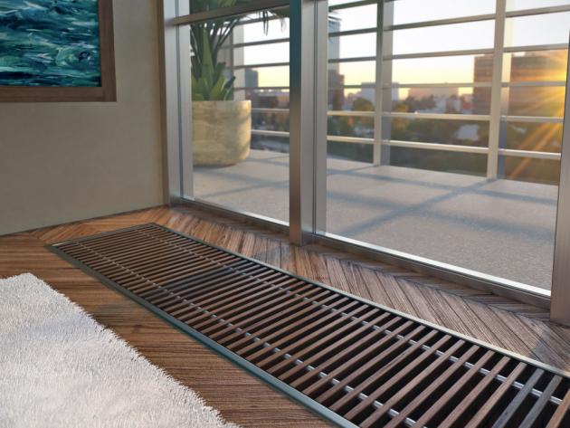 Podlahový ventilátor Koraflex s krycí mřížkou ze dřeva v podélném provedení, www.korado.cz