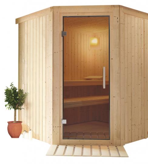 Finská sauna Tuula 2 s lavicemi v různých výškách pro pohodlný přesun mezi teplotními úrovněmi, cena 34 490 Kč, www.mountfield.cz