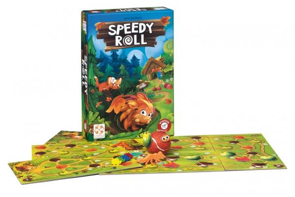 Speedy Roll je určena dětem od 4 let, je pro 2-4 hráče a stojí 599 Kč. Koupíte jí s dopravou zdarma na www. eshop-piatnik.cz