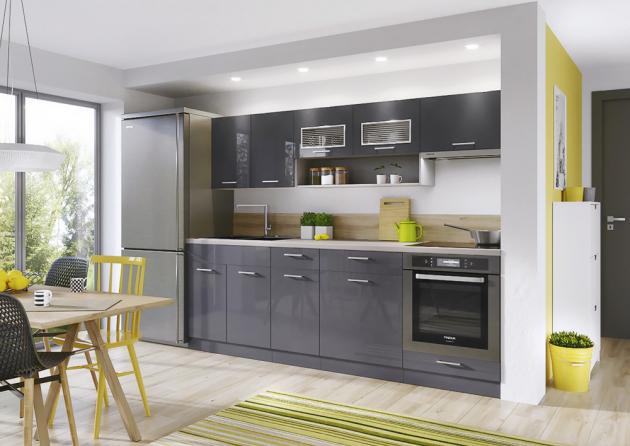 Kuchyňský blok Modern Lux, provedení lamino, antracitově šedá s vysokým leskem, délka linky 240 cm, www.jena-nabytek.cz