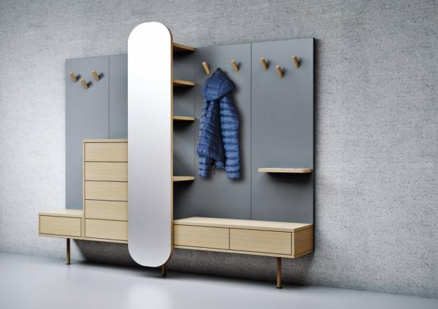 Předsíňová stěna Ventum kombinuje materiály, jako je masivní dub, dřevěná dýha a lamino,  179 × 39 × 236cm, cena 42 300 Kč, www.drevotvar.cz