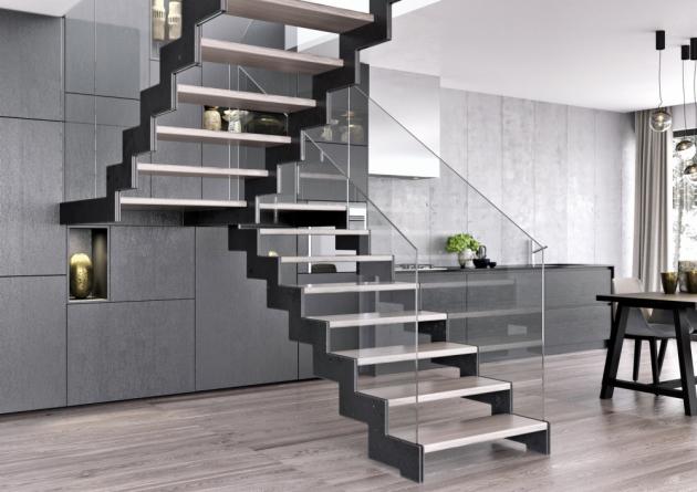 Bočnicová schodiště Nosnou konstrukci tvoří pouze kovové bočnice kotvené dopodlahy, stropu nebo donosné zdi, www.schody-jap.cz