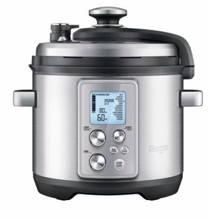 Multifunkční hrnec BRP700 (Sage), funkce tlakového apomalého vaření, 6 přednastavených programů, individuální nastavení teploty,  cena 7490Kč, www.sage.cz