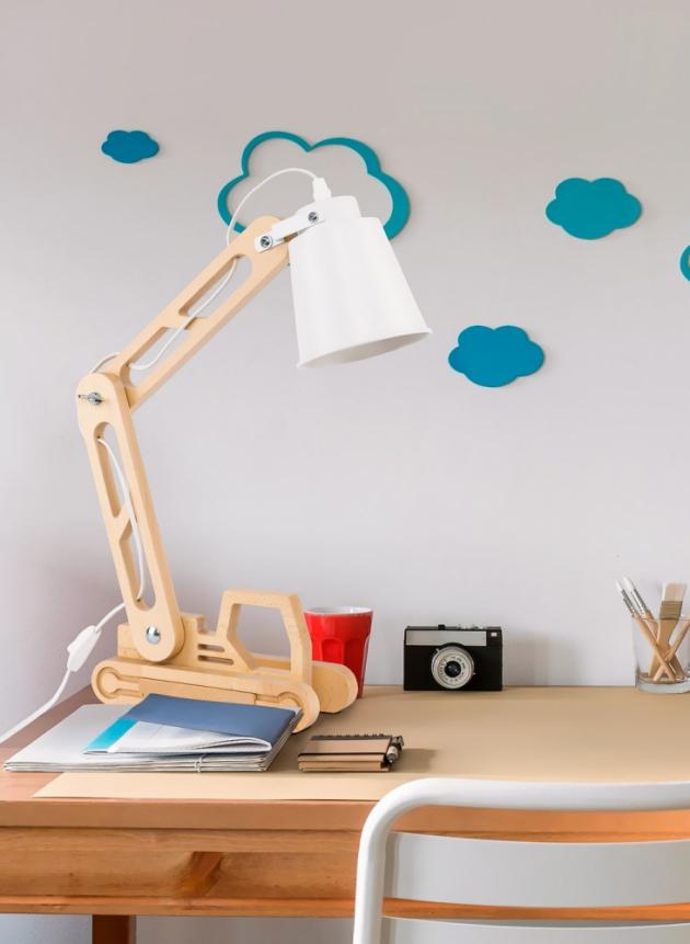 Stolní lampa Lift (TK Lighting),  kov/dřevo, výška 47cm, cena 1758Kč, www.osvetleni-shop.cz