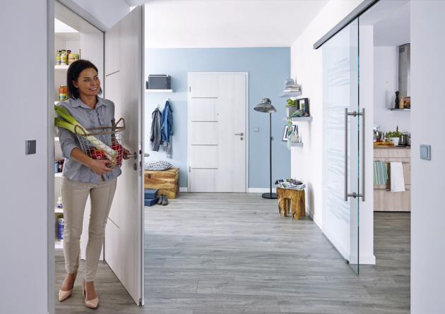 Dveře s nerezovými proužky Royal 154 (Prüm), CPL Touch grey DA a posuvné celoskleněné dveře, motiv Free, cena plných dveří od 5 240 Kč, www.prum.cz