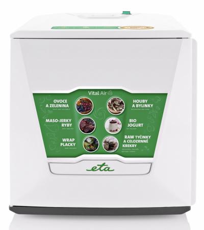 Sušička potravin Vital Air (Eta),  funkce Air Flow, vhodná též napřípravu domácího jogurtu akynutí těsta,  cena 6999Kč, www.eta.cz