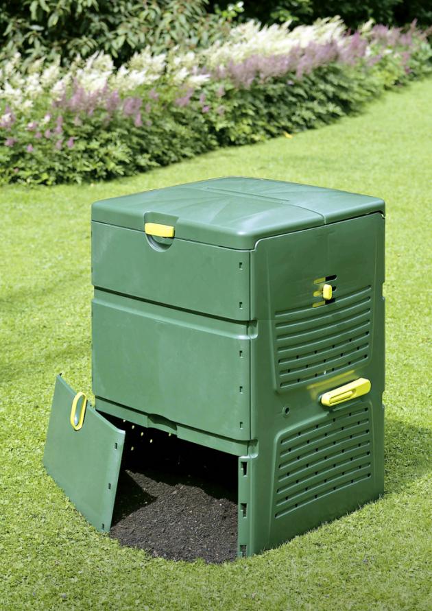 Kompostér JUWEL Aeroplus 6000, objem 600 l, 79 × 79 cm, výška 110 cm, plast, cena 3 890 Kč, www.hornbach.cz