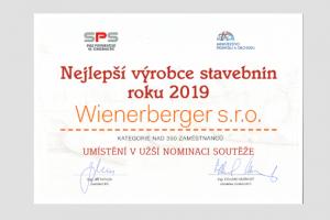Wienerberger se stal vítězem v soutěži Nejlepší výrobce stavebnin roku 2019