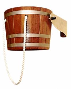 Ochlazovací vědro z exotického dřeva kambala vhodné pro okamžité ochlazení v sauně, možnost napuštění až 18 l vody, cena 13 650 Kč, eshop.sauny-salus.cz