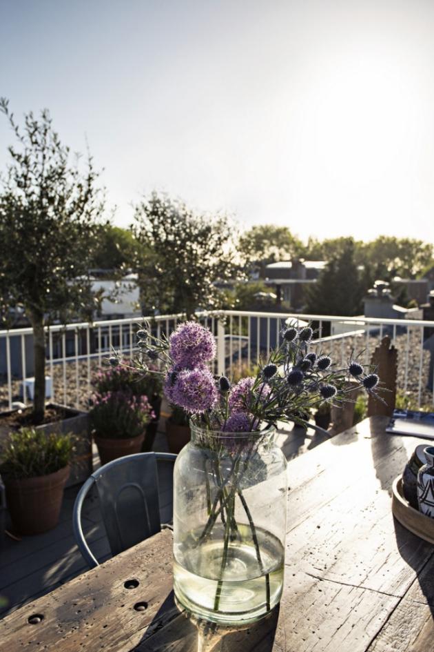 TERASA Další příjemný relaxační prostor představuje terasa s výhledem na celé město. Všudypřítomná zeleň nabízí bylinky na vaření i květiny pro potěchu oka