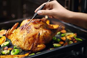 PŘESNÝ HLÍDAČ Dokonalý výsledek při pečení zajišťuje elektrická jehla. Kontrola stupně teploty uvnitř pečeného masa usnadňuje například i náročnou přípravu rostbífu.