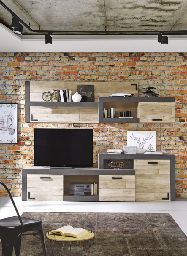 TV stěna Nagore, materiál dřevotříska/kov/plast v imitaci betonu a dubových Vintage prken, cena 7 999 Kč, www.asko-nabytek.cz
