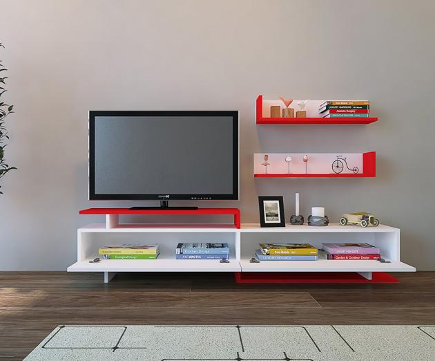 Bílá TV stěna s červenými prvky Ayaz (Mobito Design), dřevotříska potažená PVC, cena na dotaz, www.bonami.cz