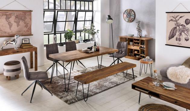 Z kolekce Bagli v provedení šíšamové dřevo s kovem je jídelní stůl, 200 × 76 × 80 cm, cena 15 241 Kč, lavice, 160 × 46 × 40 cm, cena 6 638 Kč, www.nabytekdirekt.cz