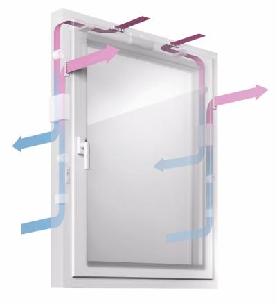 Systém větrání okna GENEO INOVENT (REHAU) je kompletně umístěný v rámu, proto nejsou při montáži nutné bourací nebo utěsňovací práce ve zdivu, www.rehau.cz
