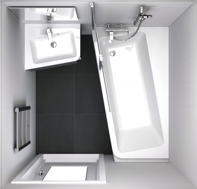 Vana a umyvadlo z řady 10° (Ravak) poskytují díky mírnému natočení v koupelně více prostoru. Ceny: umyvadlo 5 590 Kč, vana 11 990 Kč, www.ravak.cz