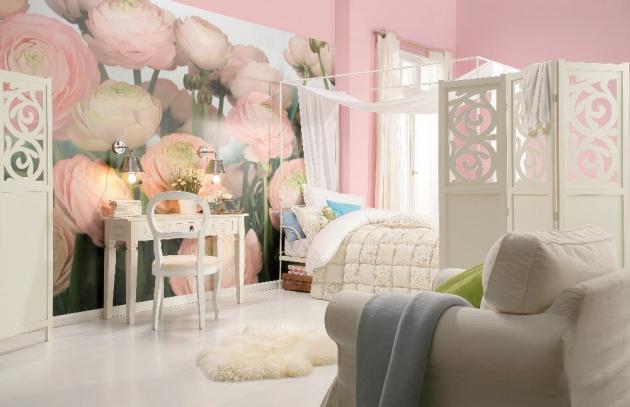 Fototapeta Komar, růžové květy