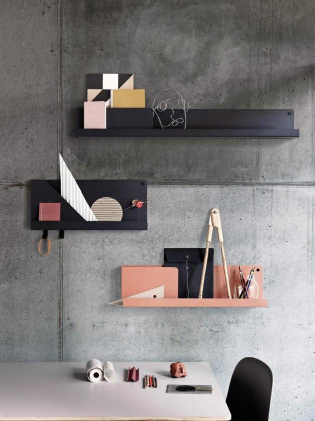 Kovové lakované police Folded (Muuto), na výběr více barev a rozměrů, cena od 2 565 Kč, www.designville.cz