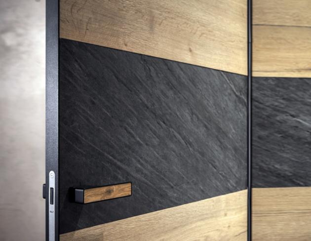 kombinace dřevěné a kamenné dýhy na povrchu dveří MASTER