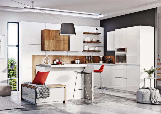 Kuchyň Elza, MDF/lamino, sestava do tvaru písmene L doplněná ostrůvkem s jídelní plochou a lavicí s úložnými prostory, www.jena-nabytek.cz