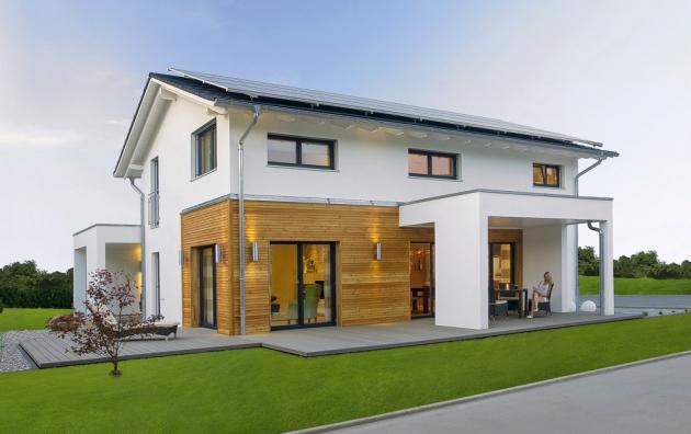 Moderní dřevostavbu na první pohled nerozeznáte od domu z cihel nebo betonu, skladba obvodových stěn je ale navržena tak, aby poskytovala maximální tepelný komfort, www.haas-fertigbau.cz