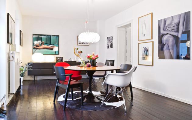 JÍDELNA Zdánlivě stylově nesourodý nábytek vytváří v jídelně efektní kontrasty