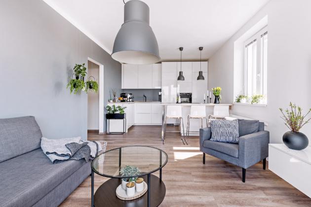 OBYTNÝ PROSTOR S KUCHYNÍ Majitelé bytu si vysnili světlý a pocitově čistý interiér s nadčasovým zařízením. To se jim díky vlastní šikovnosti a vkusu podařilo. Bílé čisté plochy se spoustou úložného prostoru – to byl plán pro kuchyň. Obývací prostor tvoří bílý TV stolek a šedý sedací nábytek