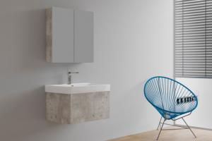 Řada Variante s dekorem betonu i na zrcadlové galerce (Dřevojas)